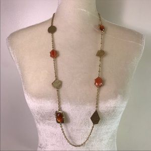 Chico's Gold Stones Long Necklace